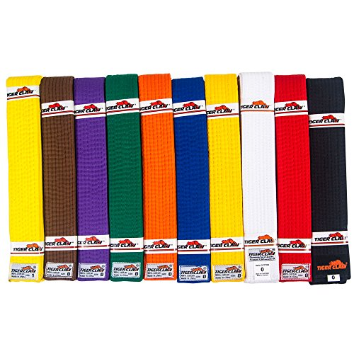 Tiger Claw 100% Cotton Martial Arts Uniform Ranking Belt – 10 Solid Colors ( Black, Yellow, Purple, Red, Blue, Green, Orange, Brown, White & Yellow) in All Sizes
