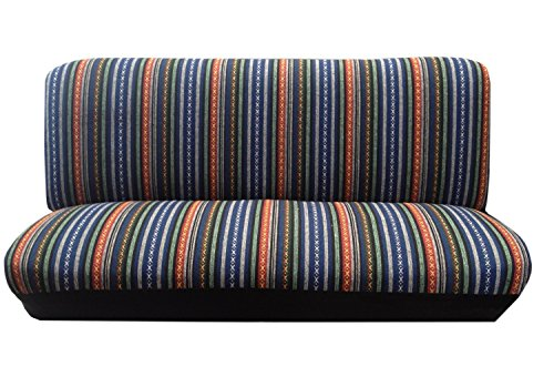 Premium Universal Fit Baja Blue Saddle Blanket Bench Seat Cover Standard Colorful Stripes (Bench Standard Seat)