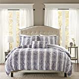 Madison Park Zuri Duvet Cover Full/Queen Size - Grey, Animal Duvet Cover Set – 4 Piece – Faux Fur Light Weight Bed Comforter Covers