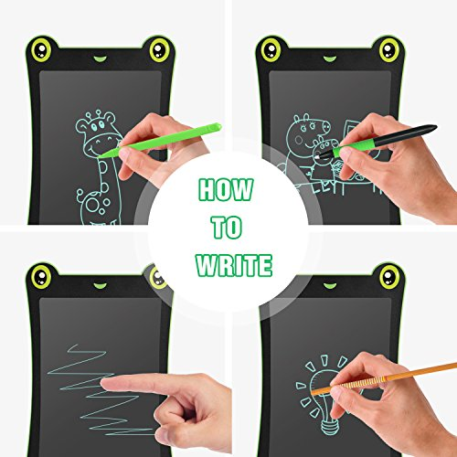 WOBEECO LCD Writing Tablet Frog Pad Children Doodle Pad Scribble Game Magnetic Drawing Board Kid's Fun Toy Smart Learning Tool 2 Styluses Included (Blue) by WOBEECO (Image #2)