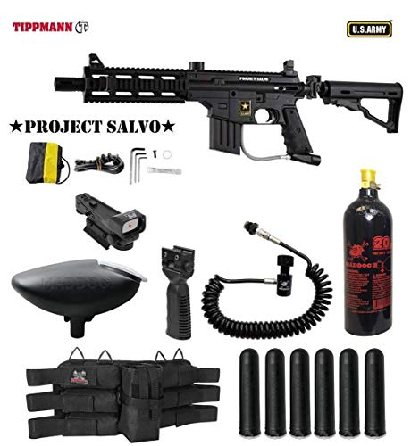 MAddog Tippmann U.S. Army Project Salvo Tactical Red Dot Paintball Gun Package - Black