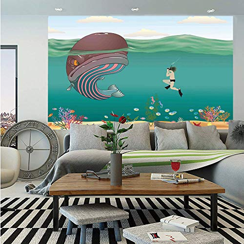 - Whale Decor Huge Photo Wall Mural,Striped Huge Whale Meet with a Diver in The Ocean with Shells Cartoon Image,Self-Adhesive Large Wallpaper for Home Decor 108x152 inches,Multi Colored