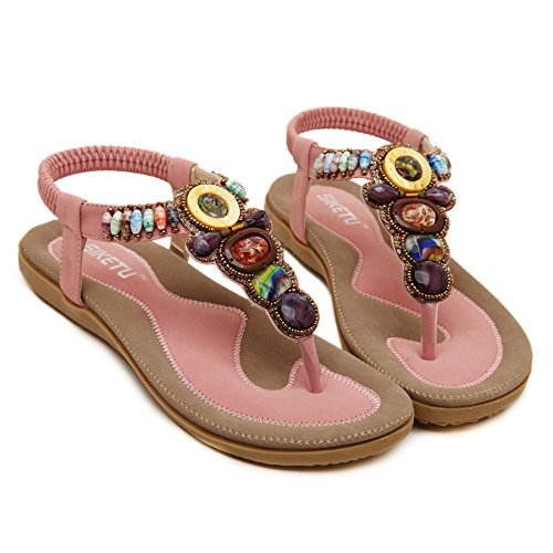 Pink Bohemian T PADGENE Summer Slingback Shoes Women's Thong Strap Sandals Beach Release Flat Beads Coin New TZ0UW