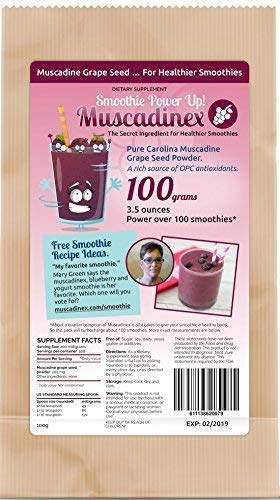 Muscadinex Bulk Grapeseed Heart Protection - 100 Servings, 3.5oz. Cardio Vascular and Blood Pressure Benefits. Add to Smoothies or Oats. Great Value. Top Quality, Made in The USA.