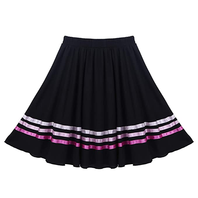 ranrann Falda de Danza Flamenco para Niña Cintura Elástica Falda ...