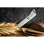 """DALSTRONG Serrated Offset Bread & Deli Knife - Gladiator Series- 8""""- German HC Steel - Guard Included 13 The Dalstrong Gladiator Series 8"""" Offset Serrated Knife. Featuring the signature Gladiator Series' triple riveted handsome black G10 handle, further laminated for extra strength, sanitation and water/stain resistance. The L-shaped blade profile is designed with comfort in mind, proving more ergonomic and placing less strain on the wrist and hand while cutting. Utilizing leverage and the engineered angle to perform more powerful cuts, the Gladiator Series Serrated Offset knife is suited for slicing both hard and soft surface foods, including but not limited to crusty loaves of bread, bagels, cakes, pies, tomatoes, watermelon, pineapple, barbecued meats and more, all without tearing. Engineered to perfection at 56+ Rockwell hardness, with a full-tang and triple riveted construction. Each blade is carefully hand polished to a satin finish and carefully tapered for improved hardness, flexibility, and minimal slicing resistance."""