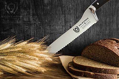 """DALSTRONG Serrated Offset Bread & Deli Knife - Gladiator Series- 8""""- German HC Steel - Guard Included 6 The Dalstrong Gladiator Series 8"""" Offset Serrated Knife. Featuring the signature Gladiator Series' triple riveted handsome black G10 handle, further laminated for extra strength, sanitation and water/stain resistance. The L-shaped blade profile is designed with comfort in mind, proving more ergonomic and placing less strain on the wrist and hand while cutting. Utilizing leverage and the engineered angle to perform more powerful cuts, the Gladiator Series Serrated Offset knife is suited for slicing both hard and soft surface foods, including but not limited to crusty loaves of bread, bagels, cakes, pies, tomatoes, watermelon, pineapple, barbecued meats and more, all without tearing. Engineered to perfection at 56+ Rockwell hardness, with a full-tang and triple riveted construction. Each blade is carefully hand polished to a satin finish and carefully tapered for improved hardness, flexibility, and minimal slicing resistance."""