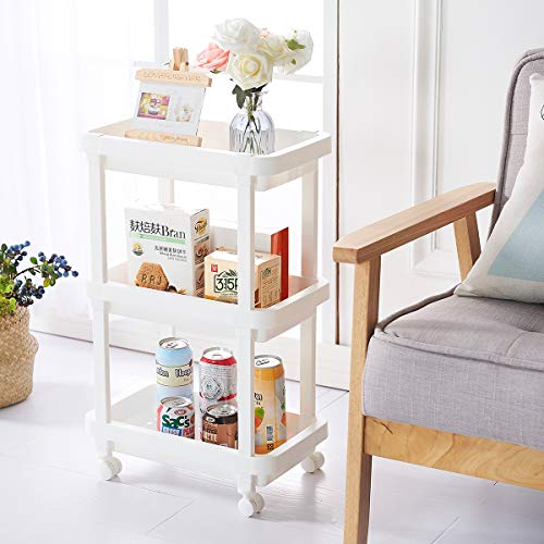 3-Tier Slide Out Storage Cart Rolling Utility Cart Storage Shelf Rack for Kitchen Living Room Bathroom Laundry Room & Dressers