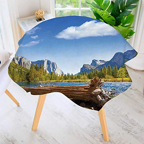 aolankaili Round Tables in Washable Polyester- Merced River El Capitan and Half Dome in California National Park Tablecloth –Ideal for Home, Restaurants, Cafés 50