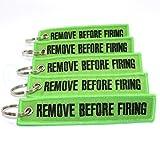 Rotary13B1 Remove Before Firing Keychain - Lime Green/Black - 5pcs