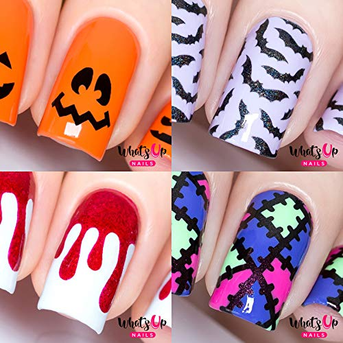 Halloween 4 pack (Bats, Pumpkin Faces, Monster Blanket, Dripping) for Nail Art Design ()