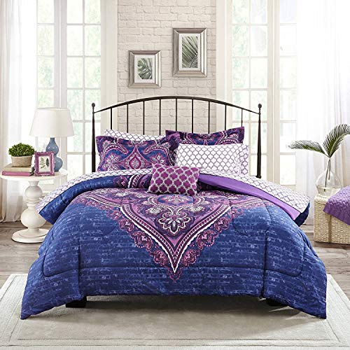 Mainstays Teens' Grace Purple Floral Reversible Medallion Bedding Queen Comforter Sets for Girls (7 Piece in a Bag)