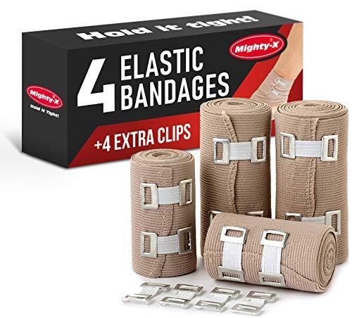 Elastic Bandage Wrap Compression Tape - 4 Compression Bandages + 4 Extra Clips - Compression Bandage - Ankle Wrap for Sprain - Compression Wrap - Compression Bandage - Athletic Wrap - Bandage Roll
