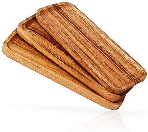 Amazon.com: Platos de servir de madera maciza de 11.0 in ...