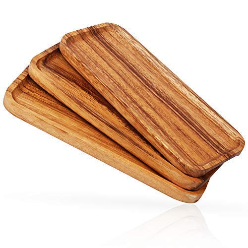 11.8-inch Solid Wood Serving Platters and Trays - Set of 3 highly durable dishwasher safe rectangular party plates - Avoid sliding & spilling food with easy-carry grooved handle design by New England Kitchen Suppliers