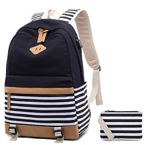 canvas-backpack-girls-stripe-school-bookbag-women-college-backpack-with-usb-port-black