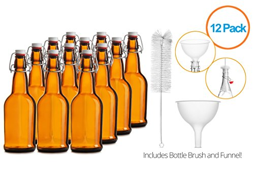 Chef's Star CASE OF 12 - 16 oz. EASY CAP Beer Bottles with Funnel and Cleaning Brush - AMBER (Bottle Grolsch Beer)
