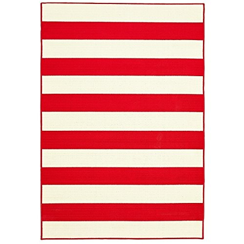 Flemish Master Weavers Red/White Striped Indoor/Outdoor Area Rug (6'7 x 9'6) (Red Striped Awning)