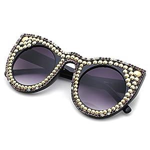 Slocyclub Women Handmade Overstate Cat Eye Sunglasses with Pearl