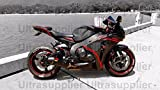 Gloss Black w/ Red Aftermarket Complete Painted Fairing Injection Bodywork ABS Plastic Molding Kit w/ Tank Cover for 2008-2011 Honda CBR1000RR CBR 1000 RR 1000RR Windshield & Heat Shield as FREE GIFT
