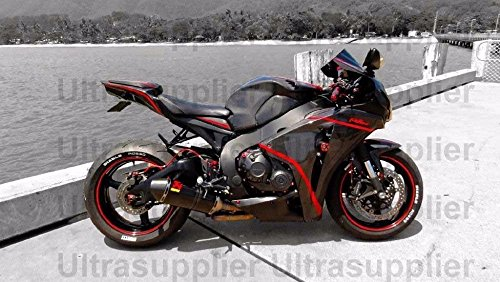 FATExpress Gloss Black w/Red Aftermarket Complete Painted Fairing Injection Bodywork ABS Plastic Molding Kit w/Tank Cover for 2008-2011 Honda CBR1000RR CBR 1000 RR 1000RR Windshield & Heat Shield - Molding Plastic Abs