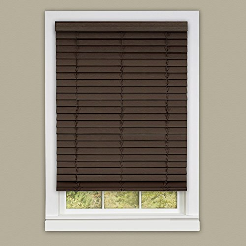 Achim Home Furnishings Madera Falsa 2-Inch Slat Faux Wood Plantation Blind, 35 by 64-Inch, ()