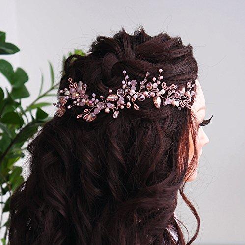 Kercisbeauty Handmade Bridal Bridesmaids Summer Vintage Pink Crystal Beads Headband Vine Spring Headband Headpiece Hair Vine Bridal Accessories Super Flash Party -