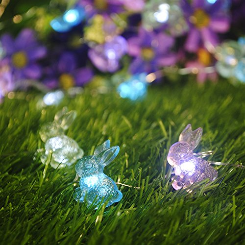 Garden Lights Decorating, Impress Life Rabbit Bunny Silver Plated Copper Wire 10 ft 40 LEDs with Remote for Patio, Covered Outdoor, Christmas, Wedding, Birthday, Baby Shower, Home Parties (Rabbit Decor)