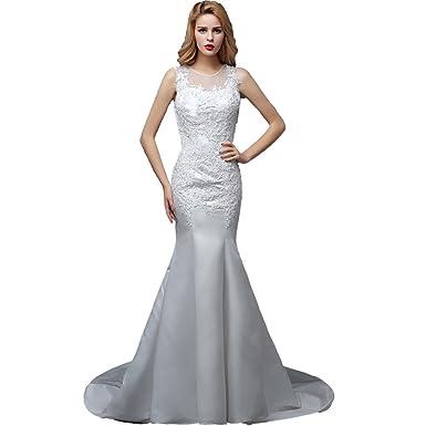 Wewind Damen Elegantes Hochzeitkleid mit Schleppe Schmucksteine ...