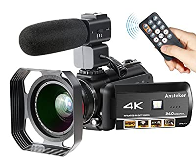 4K Camcorder, Ansteker Ultra-HD 1080P 24MP 30FPS Digital Wifi Video Camera, IR Night Vision Camcorder with Microphone and Wide Angle Lens,Lens hood from Ansteker