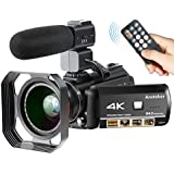 4K Camcorder, Ansteker Ultra-HD 1080P 24MP 30FPS Digital Wifi Video Camera, IR Night Vision Camcorder with Microphone and Wide Angle Lens,Lens hood