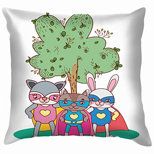 X-Large Raccoons Rabbit Friends Costume Landscape Animals Wildlife Adorable Soft Cotton Linen Cushion Cover Pillowcases Throw Pillow Decor Pillow Case Home Decor 20X20 Inch