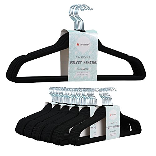 Spaghetti Strapped Long Gown - Voilamart Velvet Hangers 60 Pack - Extra Strong Heavy Duty Non Slip Suit Hangers, Ultra Thin Space Saving Clothes Hanger (Black)