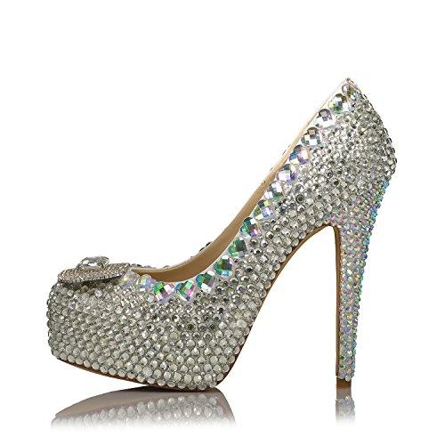 Zapatos Del Banquete De Boda De La Primavera Del Otoño Para Las Mujeres Apliques Crystal 10CM Tacones Altos Plataforma Del Dedo Del Pie Redondo De La Plataforma De Los 4Cm Zapatos Cómodos Del Vestido