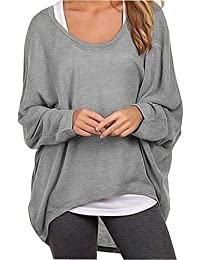 Women's Casual Oversized Baggy Off-Shoulder Shirts Batwing Sleeve Pullover Shirts Tops