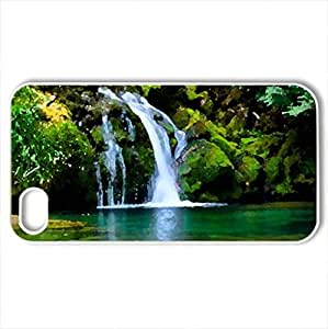 BELA CACHOEIRA - Case Cover for iPhone 4 and 4s (Waterfalls Series, Watercolor style, White)