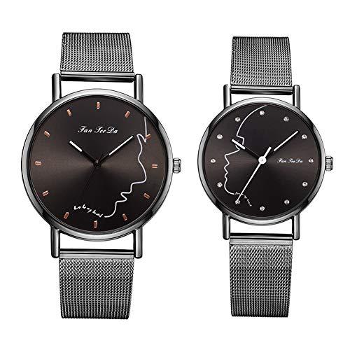 FAgdsyigao 2Pcs/Set Men Women Wrist Watch, Face Round Dial Mesh Band Couple Analog Quartz Watches Silver + Black