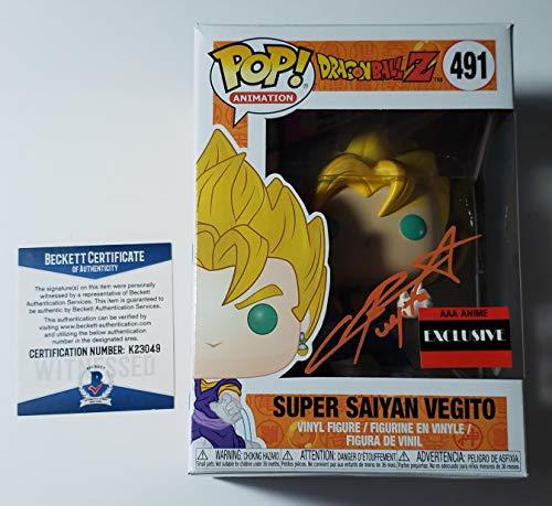 Chris Sabat autographed Funko Pop Figure Dragon Ball Z Kai Super Saiyan Vegito Beckett + Free Pop Protector