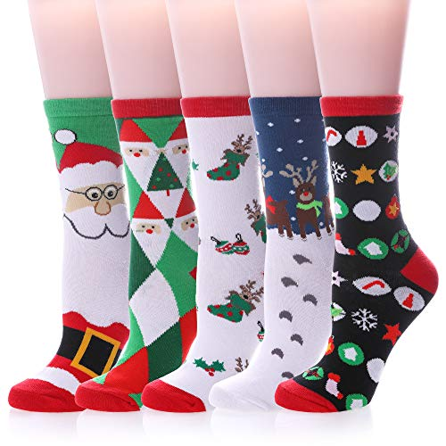 Women's Cute Funny Socks Colorful Novelty Casual Crew Animal Socks (5 Pairs Christmas Style)]()