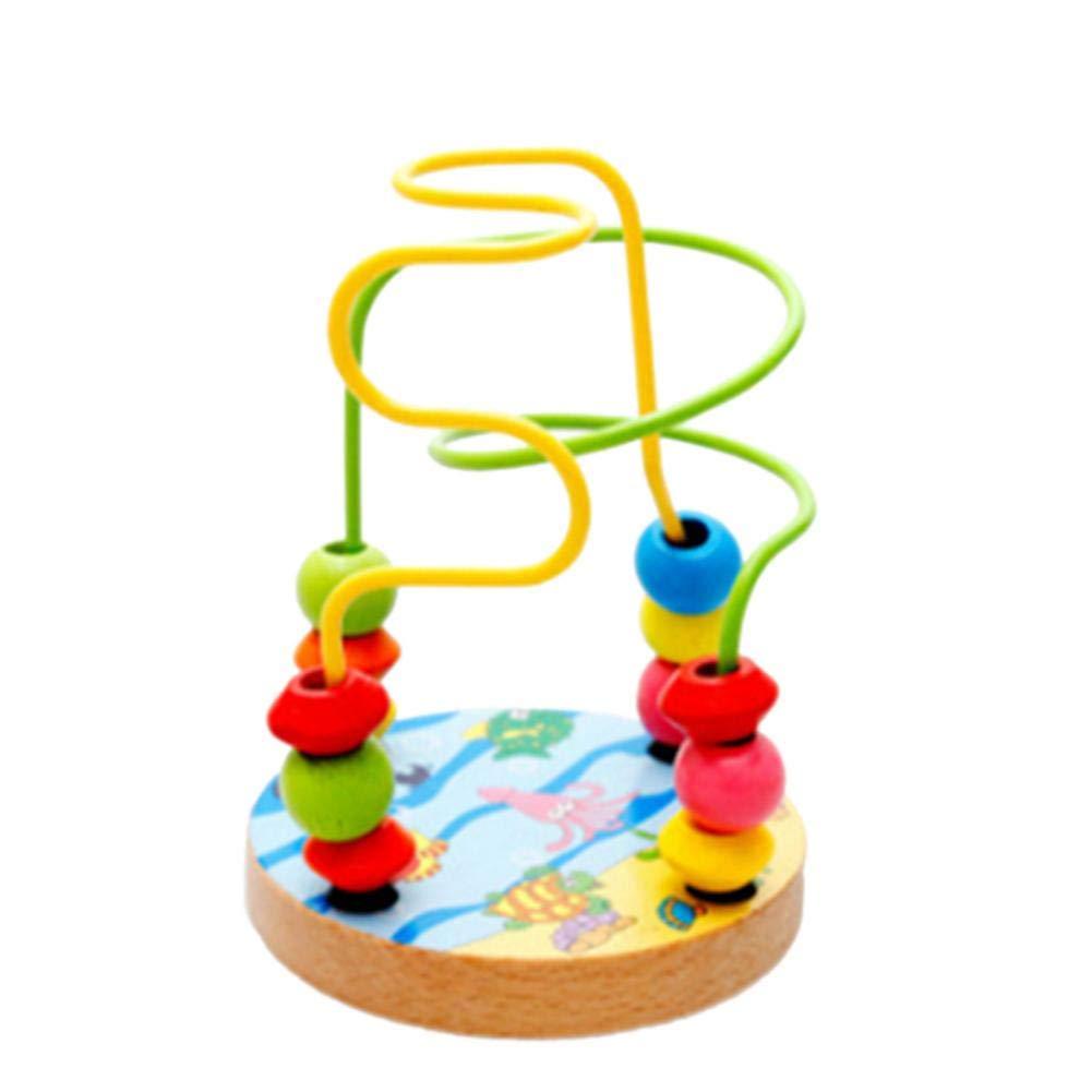 Kleine Motorikschleife Pädagogisches Spielzeug Bead Maze Abakus Perlenkette aus Perlen Holzbuche Kleine Runde Perlen