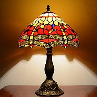 91c3b4682800 Red   Yellow Dragonfly 12inch Tiffany Table Lamp  Amazon.co.uk  Lighting