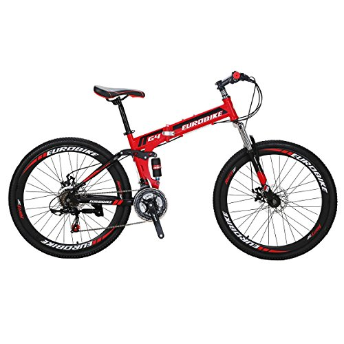 Eurobike Mountain Bike TSM G4 21 Speed 26 Inches Wheels Dual Suspension Folding Bicycle