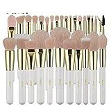 Pearl White Makeup Brushes set Nano Wool Fiber Pink Hair Gold Ferrule Foundation