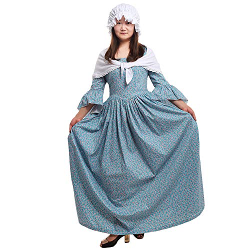 GRACEART Pioneer Colonial Women Costume Dress Blue size-14