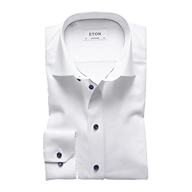 6023bfcfef6a Eton Men's White Contemporary Fit Shirt With Navy Trim at Amazon ...