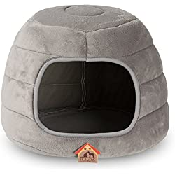 "Hollypet 16""×16""×12.5"" Coral Velvet Self-Warming 2-in-1 Foldable Cave Shape High Elastic Foam Pet Cat Bed for Cats and Small Dogs, Gray"