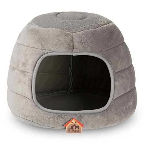 Hollypet 16×16×12.5 inches Coral Velvet Self-Warming 2 in 1 Foldable Cave Shape High Elastic Foam Pet Cat Bed for Cats and Small Dogs, Light Gray ()
