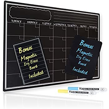 Charming Magnetic Dry Erase Calendar With Chalkboard Design For Kitchen Fridge |  Includes 2 Fine Tip Chalk