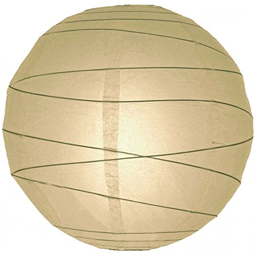 Koyal Wholesale Criss-Cross Ribbed Paper Lantern, 24-Inch, Ivory -