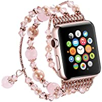 Apple Watch Band Handmade Fashion Elastic Stretch Faux Pearl Natural Stone Bracelet Replacement iWatch Strap Women for Apple Watch Series 2 Series 1 All Version (42mm)